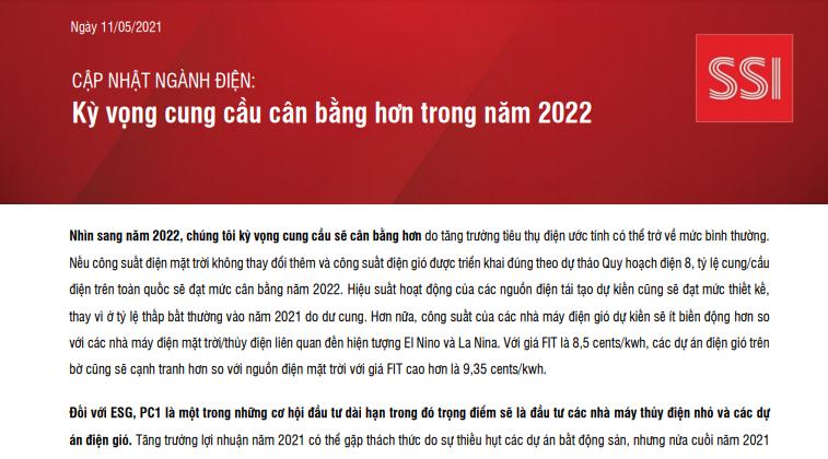 CẬP NHẬT NGÀNH ĐIỆN: Kỳ vọng cung cầu cân bằng hơn trong năm 2022