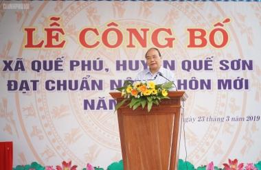 Thủ tướng dự lễ đón nhận danh hiệu xã nông thôn mới tại Quảng Nam