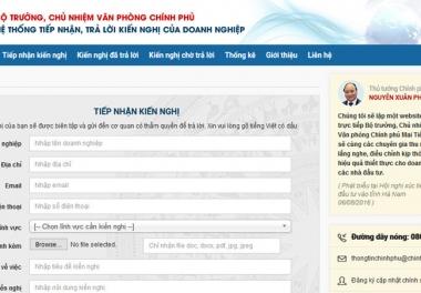 Chính phủ lập website nhận phản ảnh của doanh nghiệp