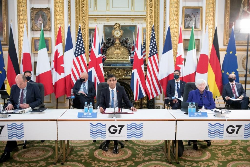 Các nước G7 ngày 56 đã đạt được thỏa thuận về thuế thu nhập doanh nghiệp toàn cầu. Ảnh Reuters